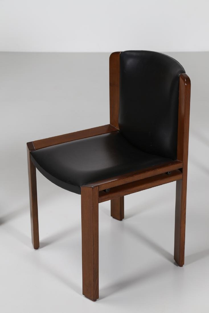 JOE COLOMBO Four walnut and leather chairs, model 300, - 2