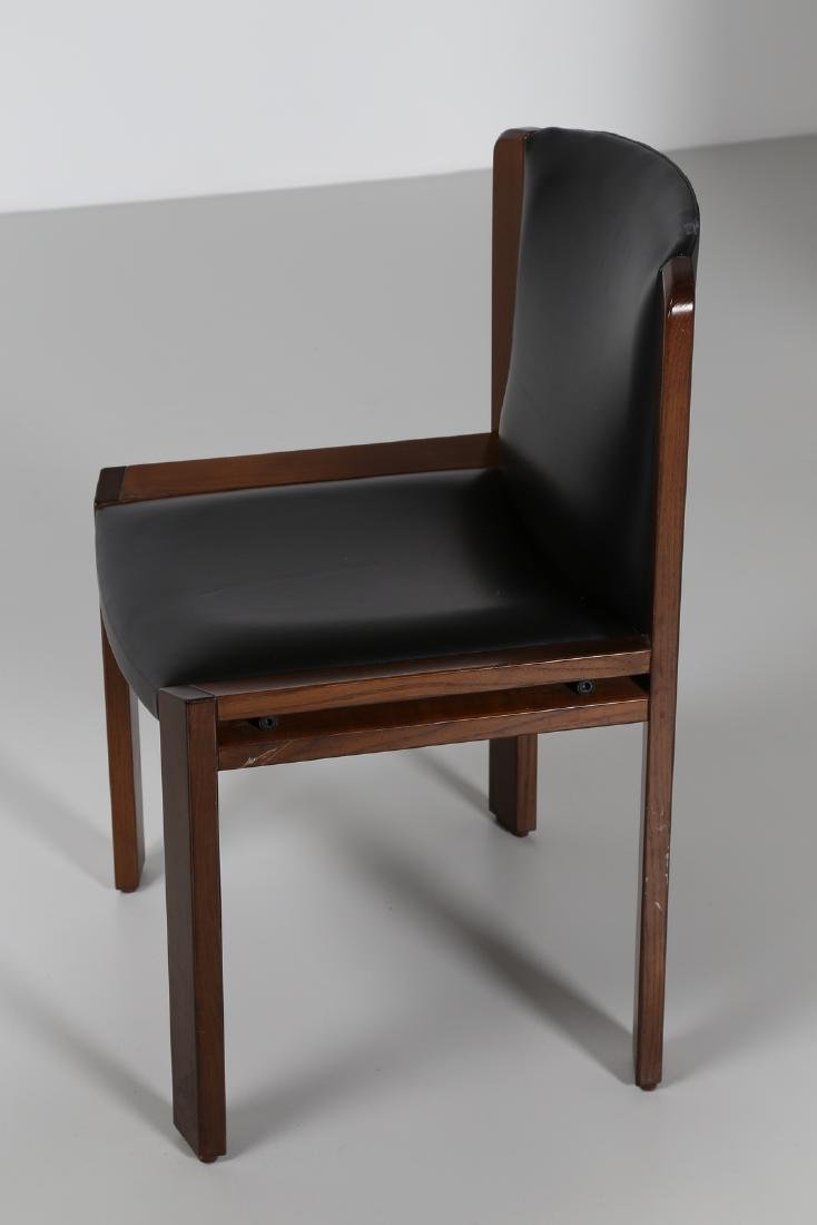 JOE COLOMBO Four walnut and leather chairs, model 300, - 3