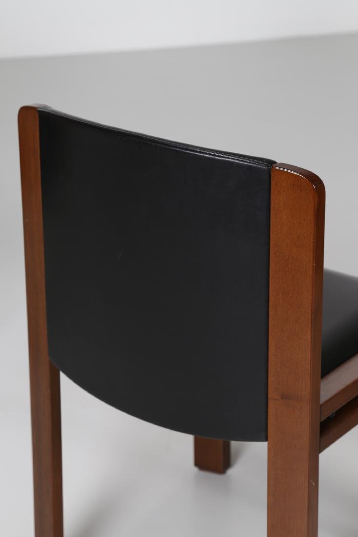 JOE COLOMBO Four walnut and leather chairs, model 300, - 6