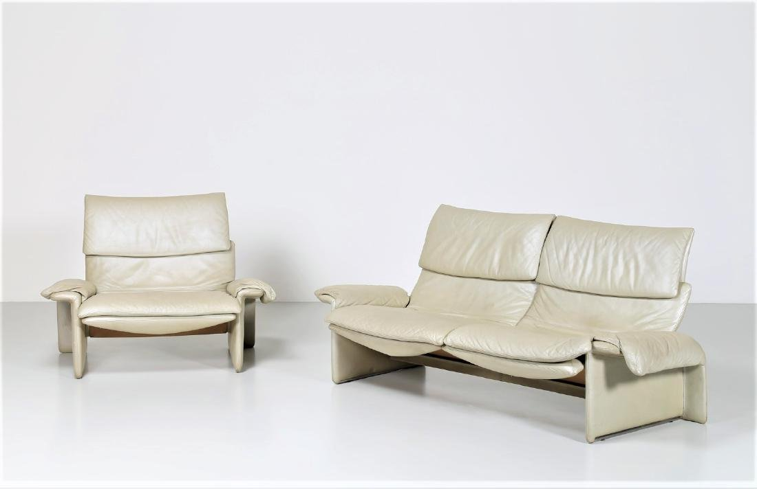GIOVANNI OFFREDI Leather two-seater sofa and armchair