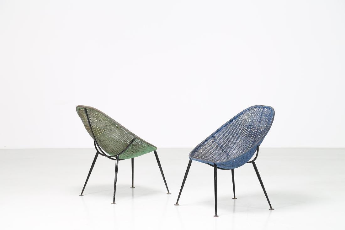 MANIFATTURA ITALIANA  Pair of iron and plastic chairs,