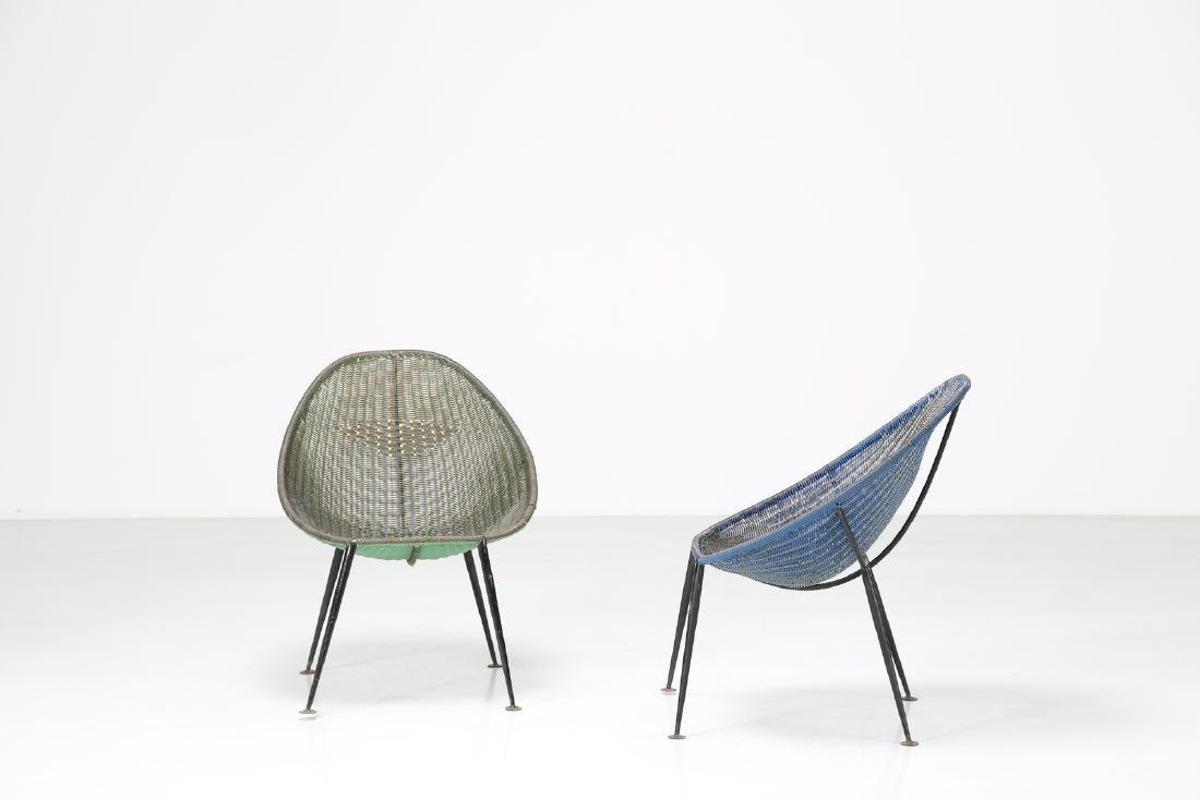 MANIFATTURA ITALIANA  Pair of iron and plastic chairs, - 2