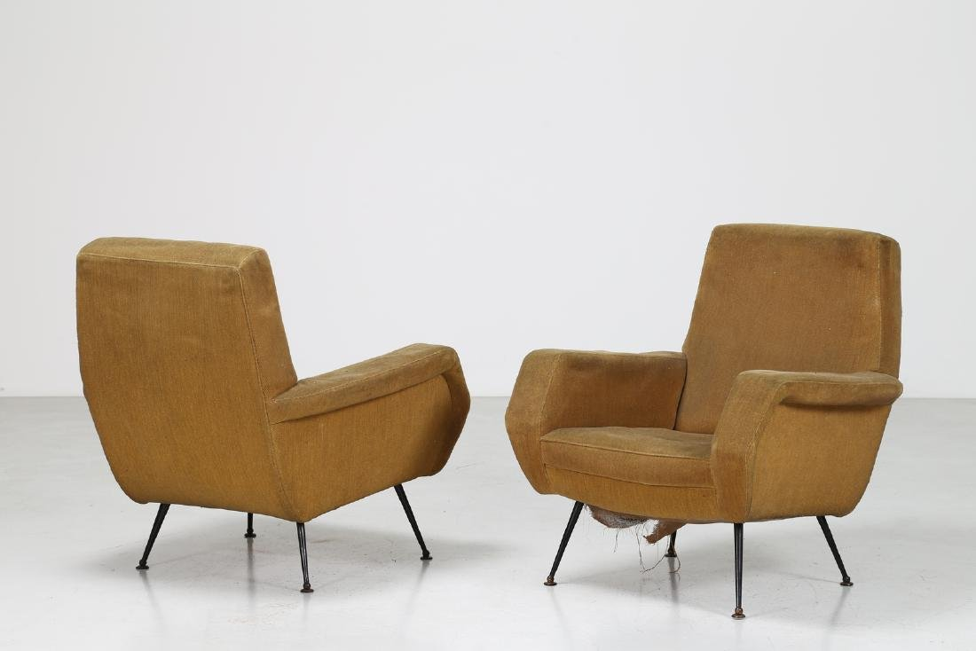 MANIFATTURA ITALIANA  Pair of armchairs in wood and