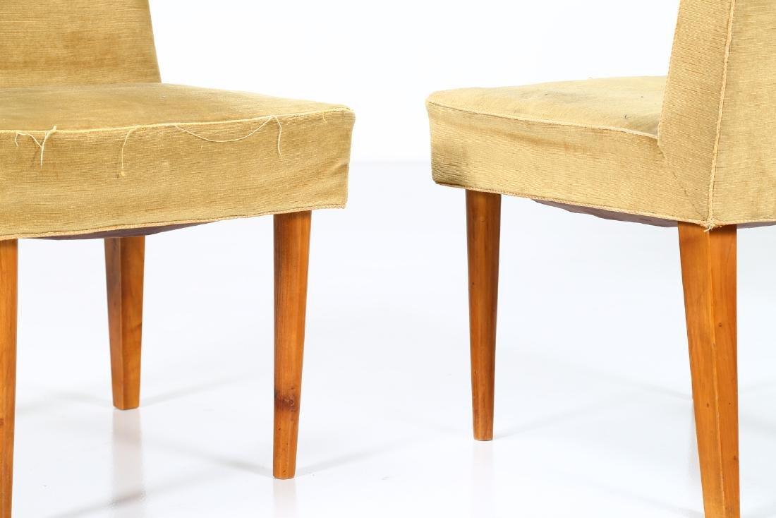 UGO CARA' Eight wood and fabric chairs, 1950s. - 2
