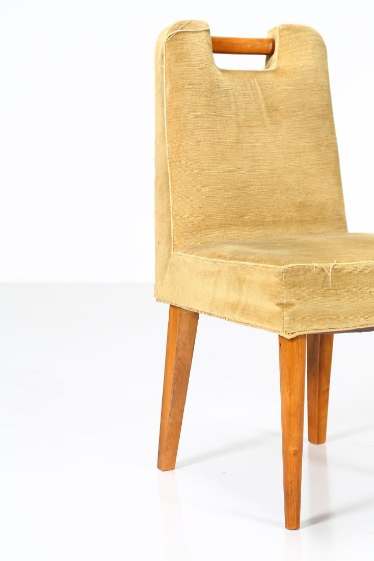 UGO CARA' Eight wood and fabric chairs, 1950s. - 3