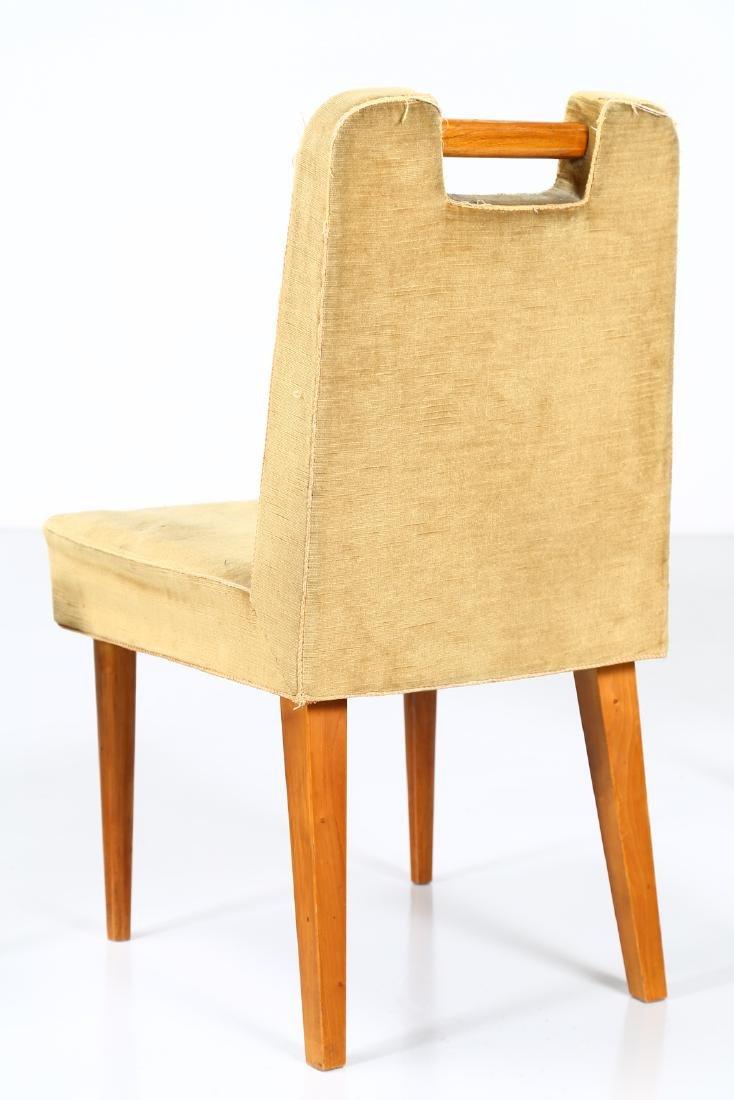 UGO CARA' Eight wood and fabric chairs, 1950s. - 4
