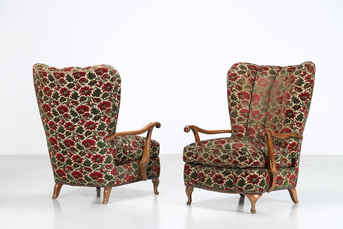 MANIFATTURA FIORENTINA   Pair of wood and fabric