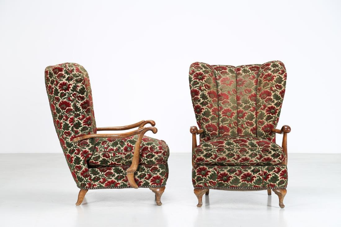 MANIFATTURA FIORENTINA   Pair of wood and fabric - 2