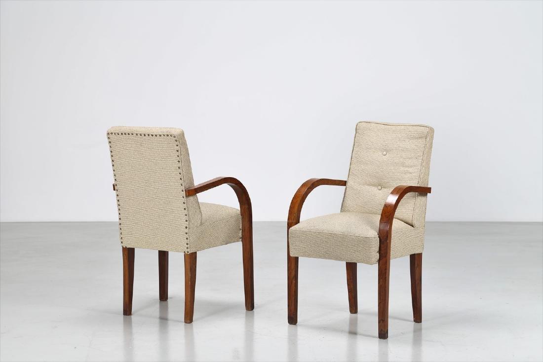 MANIFATTURA ITALIANA  Pair of walnut and fabric chairs