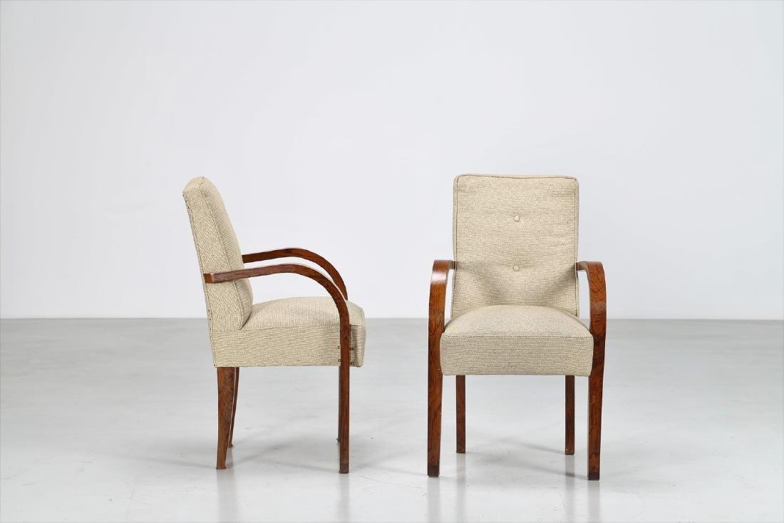 MANIFATTURA ITALIANA  Pair of walnut and fabric chairs - 2
