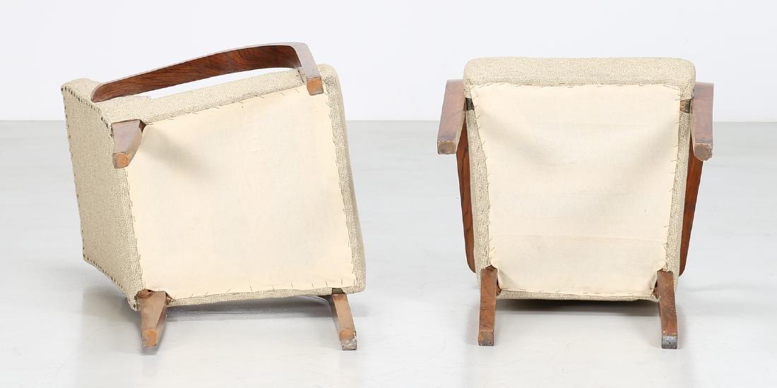 MANIFATTURA ITALIANA  Pair of walnut and fabric chairs - 3