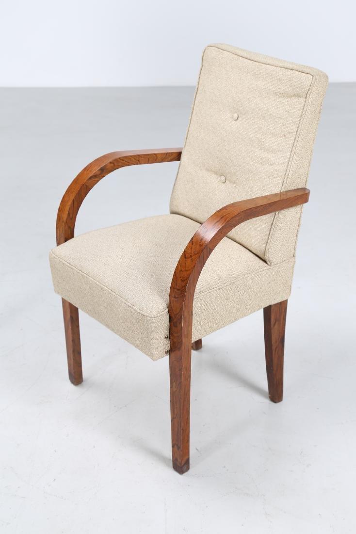 MANIFATTURA ITALIANA  Pair of walnut and fabric chairs - 4