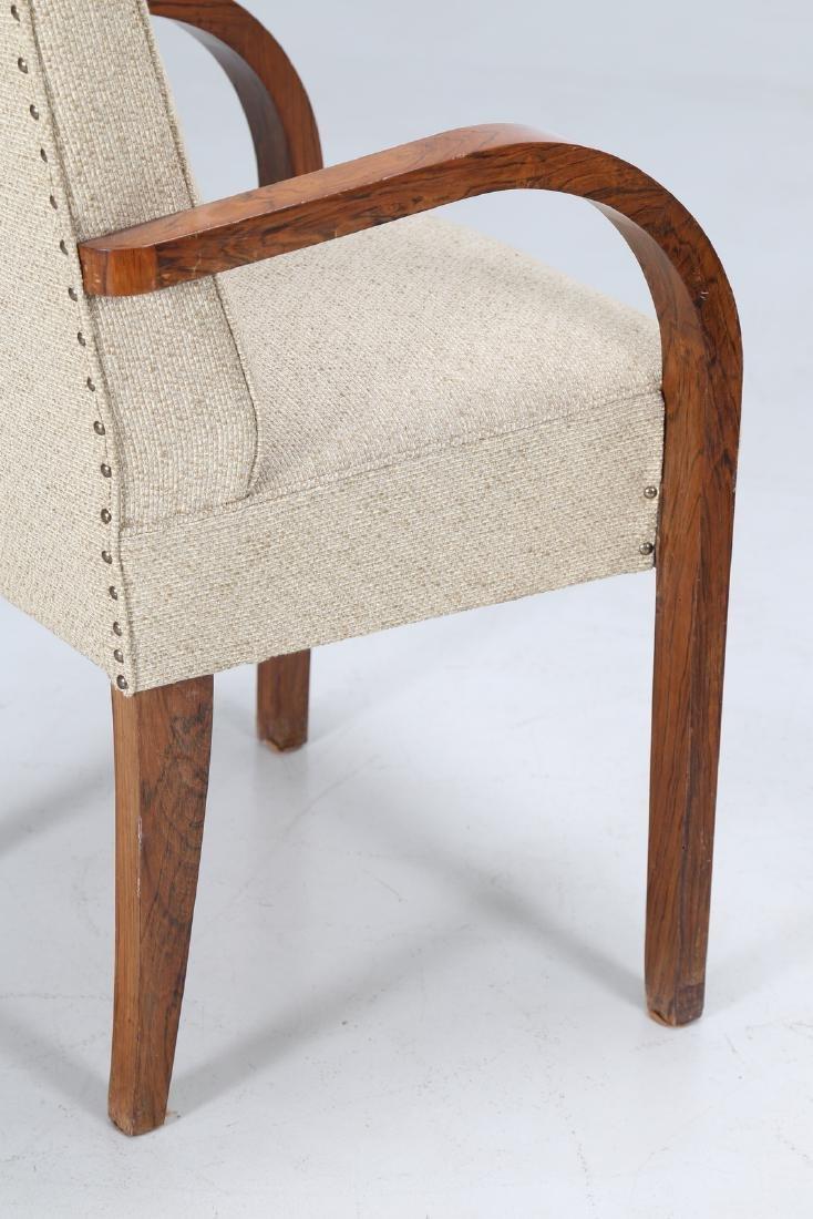 MANIFATTURA ITALIANA  Pair of walnut and fabric chairs - 5