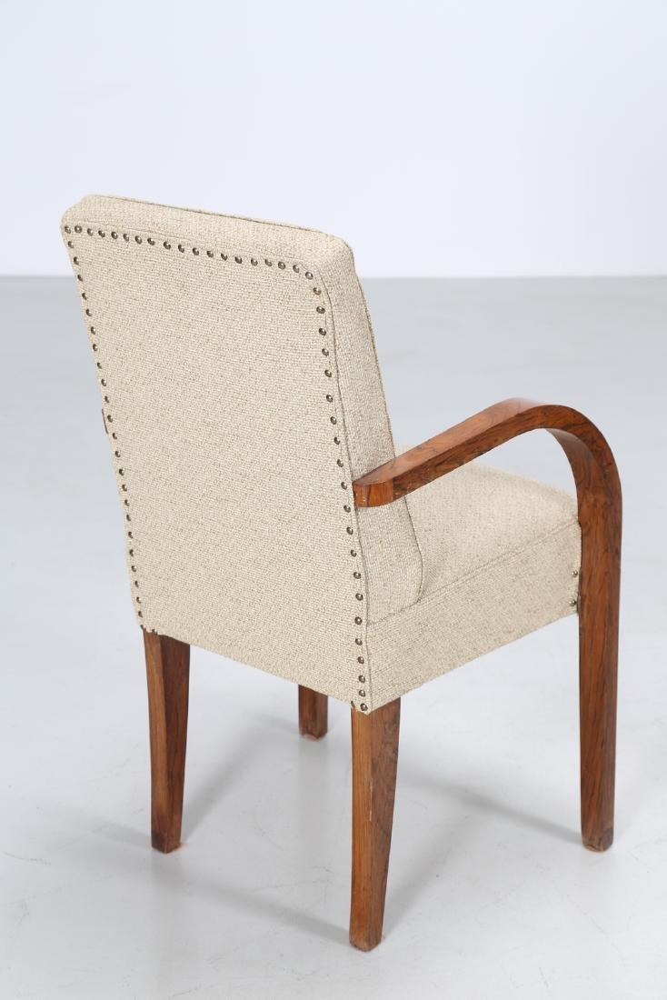 MANIFATTURA ITALIANA  Pair of walnut and fabric chairs - 6