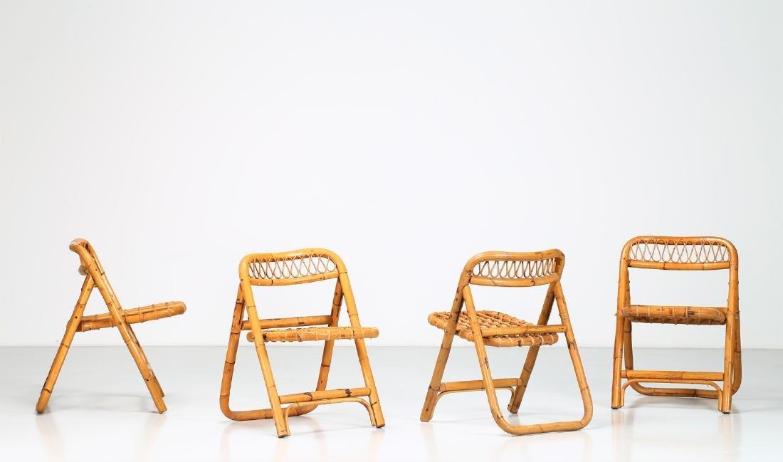MANIFATTURA ITALIANA  Four folding bamboo chairs,
