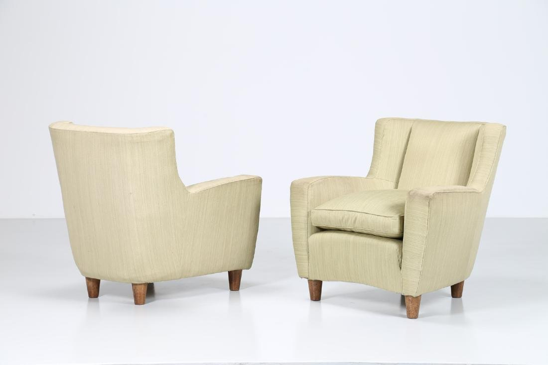 MAURIZIO TEMPESTINI Distinctive pair of wood and fabric