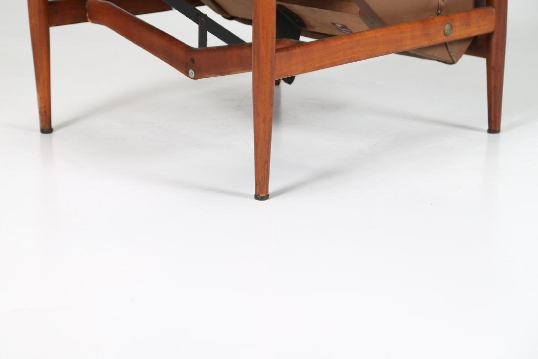 ISA BERGAMO  Recliner armchair in teak and skai, - 10