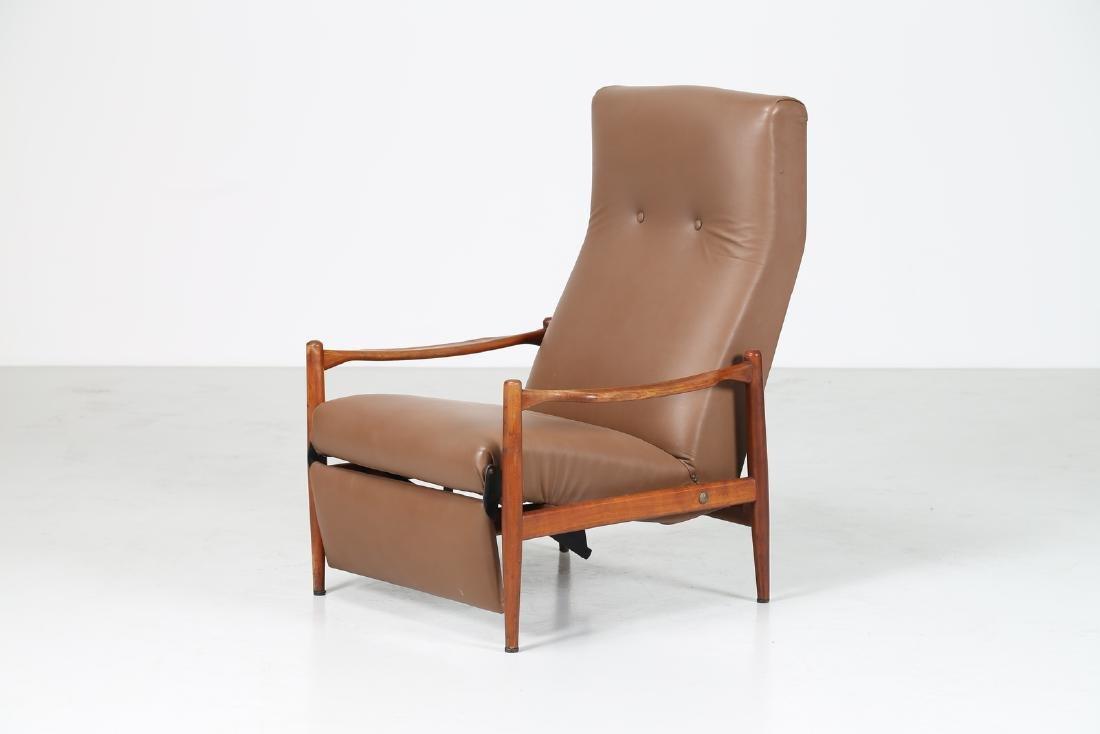 ISA BERGAMO  Recliner armchair in teak and skai,