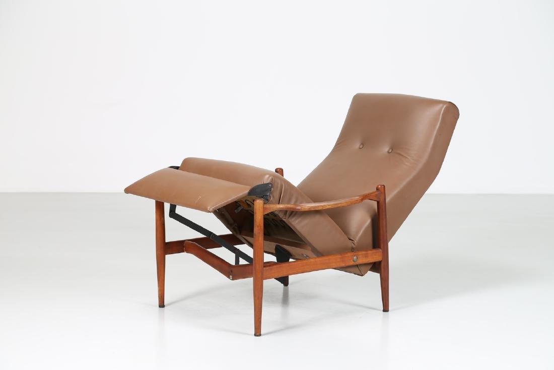ISA BERGAMO  Recliner armchair in teak and skai, - 2