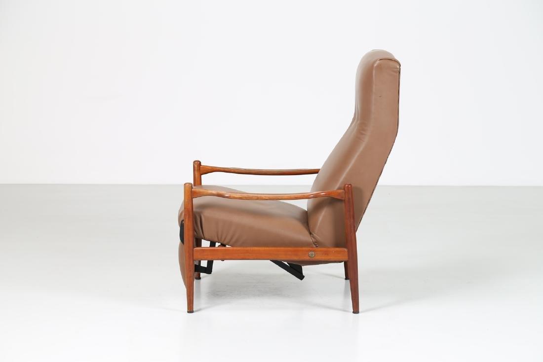 ISA BERGAMO  Recliner armchair in teak and skai, - 4