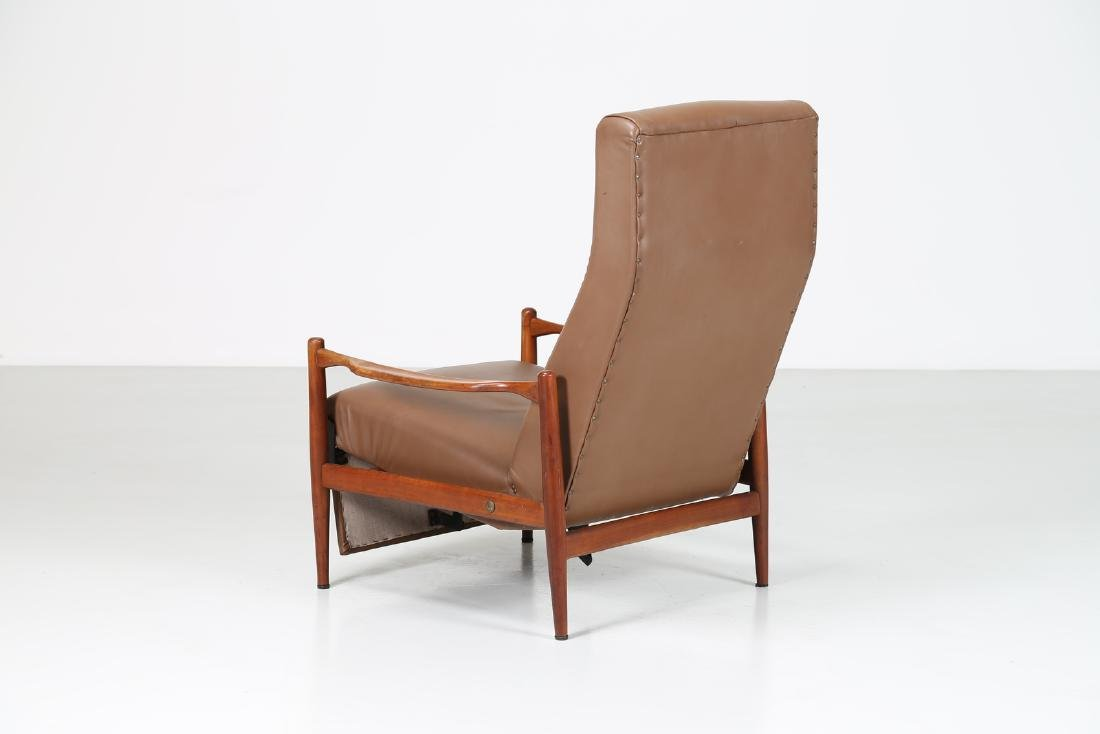 ISA BERGAMO  Recliner armchair in teak and skai, - 5