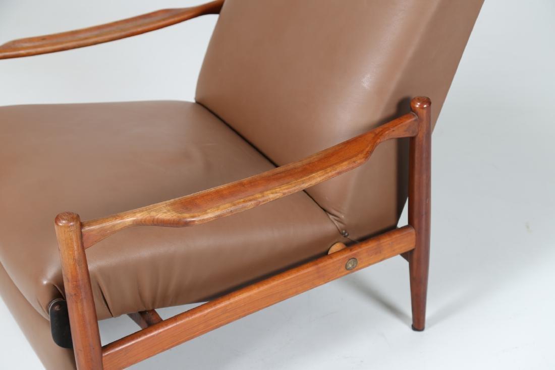 ISA BERGAMO  Recliner armchair in teak and skai, - 7