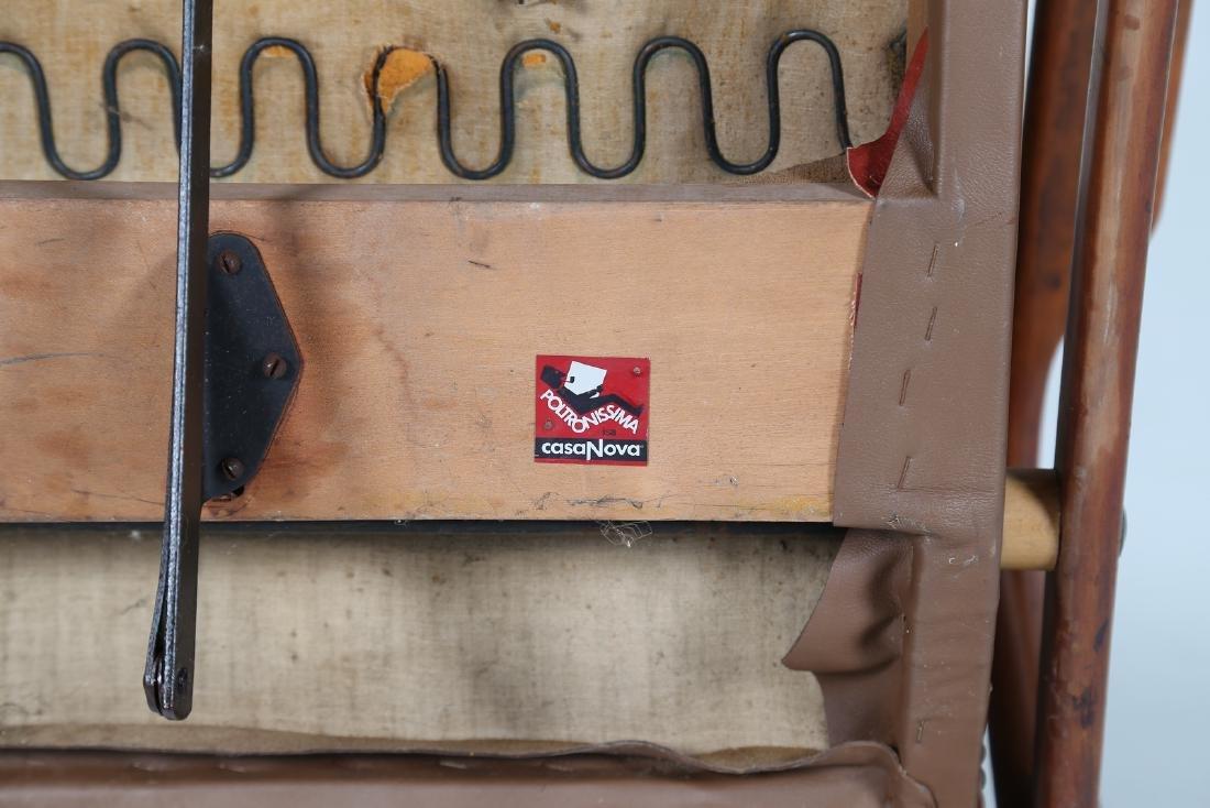 ISA BERGAMO  Recliner armchair in teak and skai, - 8