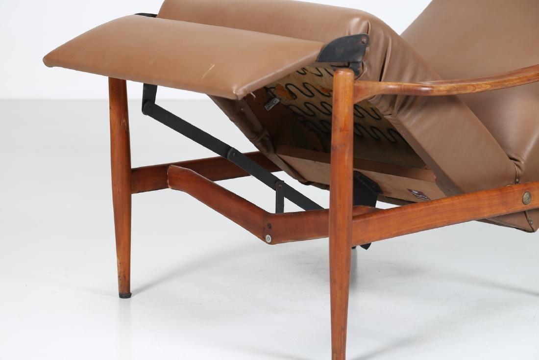 ISA BERGAMO  Recliner armchair in teak and skai, - 9