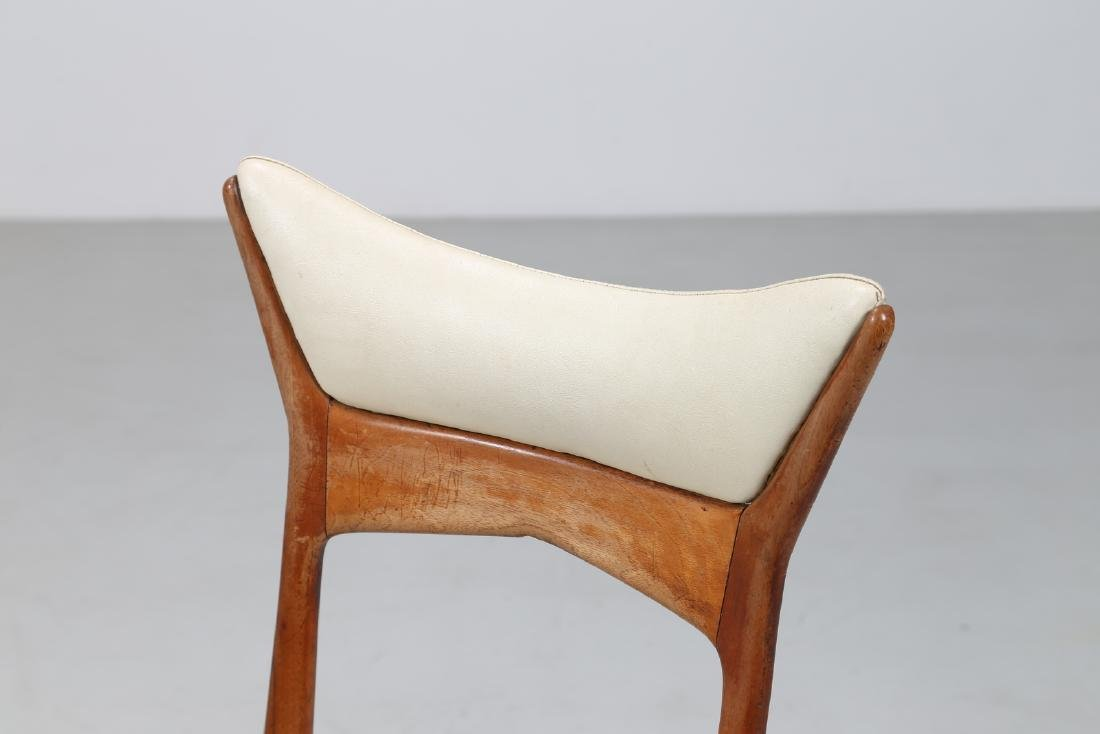 MANIFATTURA ITALIANA  Six wood and skai chairs, 1950s. - 2