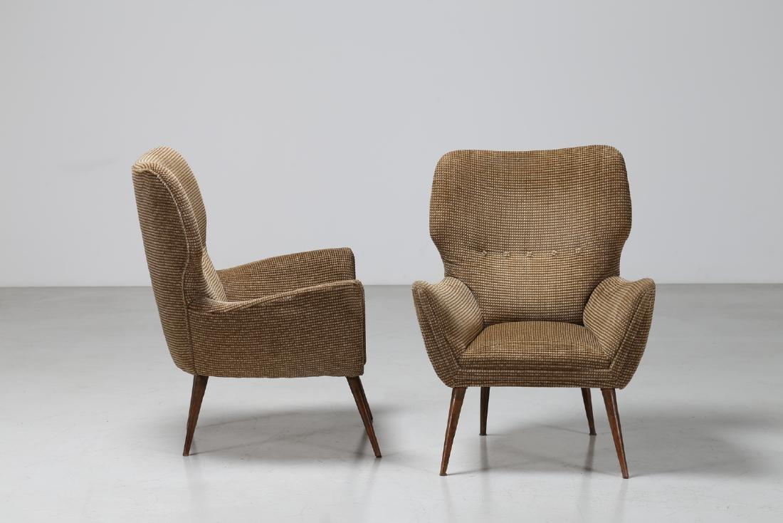 MANIFATTURA ITALIANA  Pair of armchairs in wood and - 2