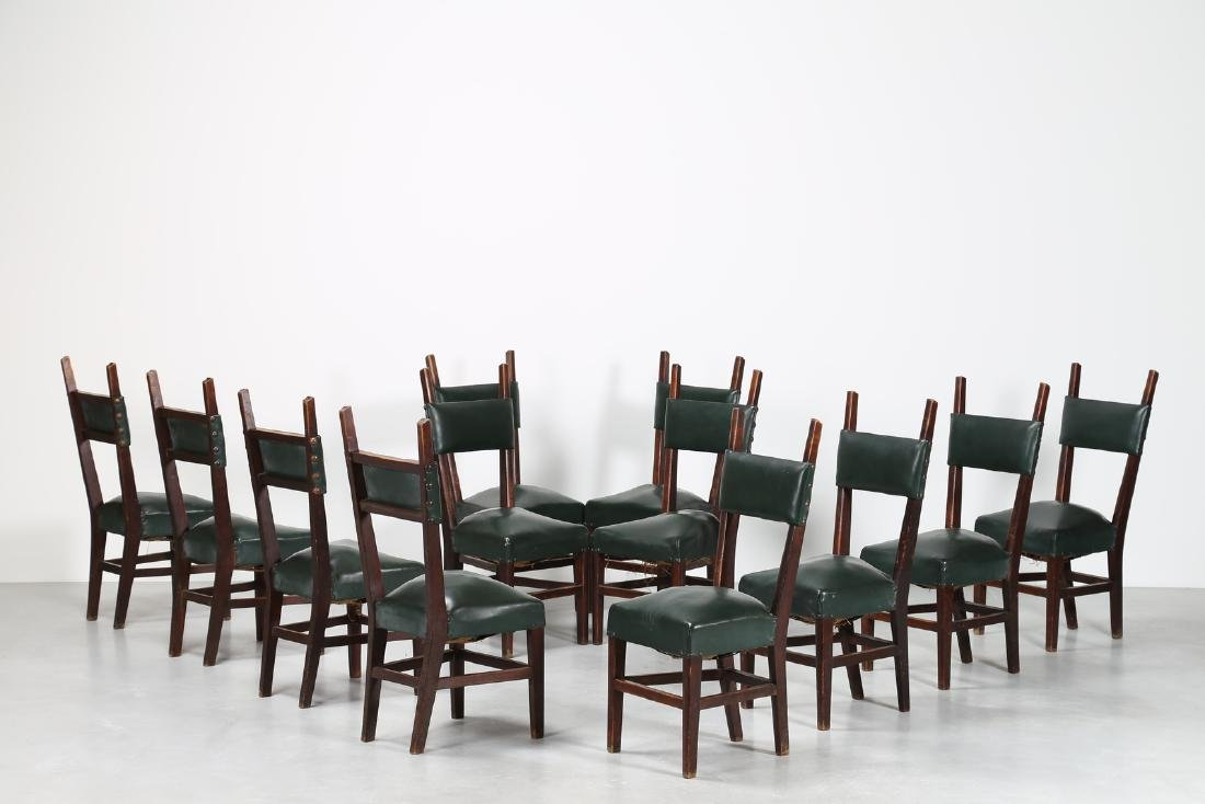 MANIFATTURA ITALIANA  Twelve wood chairs with skai
