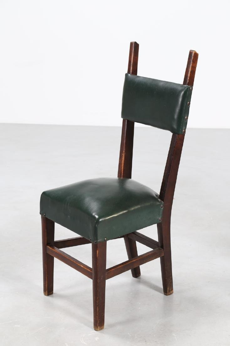 MANIFATTURA ITALIANA  Twelve wood chairs with skai - 2