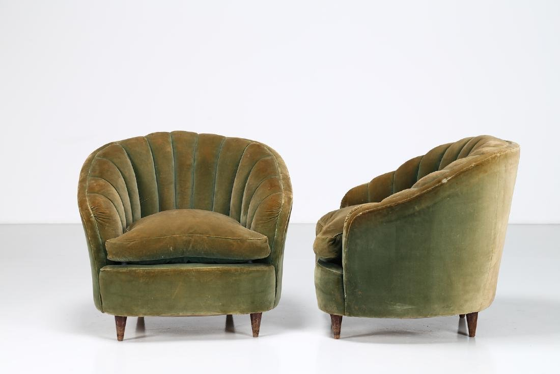 OSVALDO BORSANI Pair of wood and fabric armchairs,