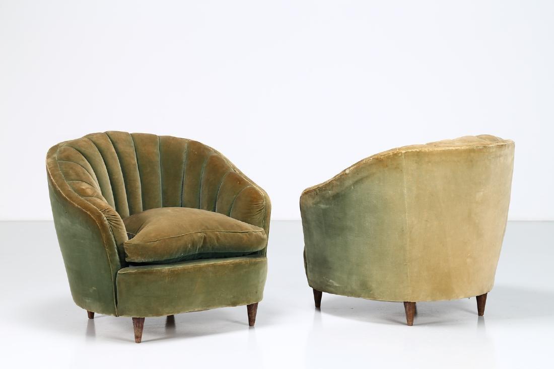 OSVALDO BORSANI Pair of wood and fabric armchairs, - 2