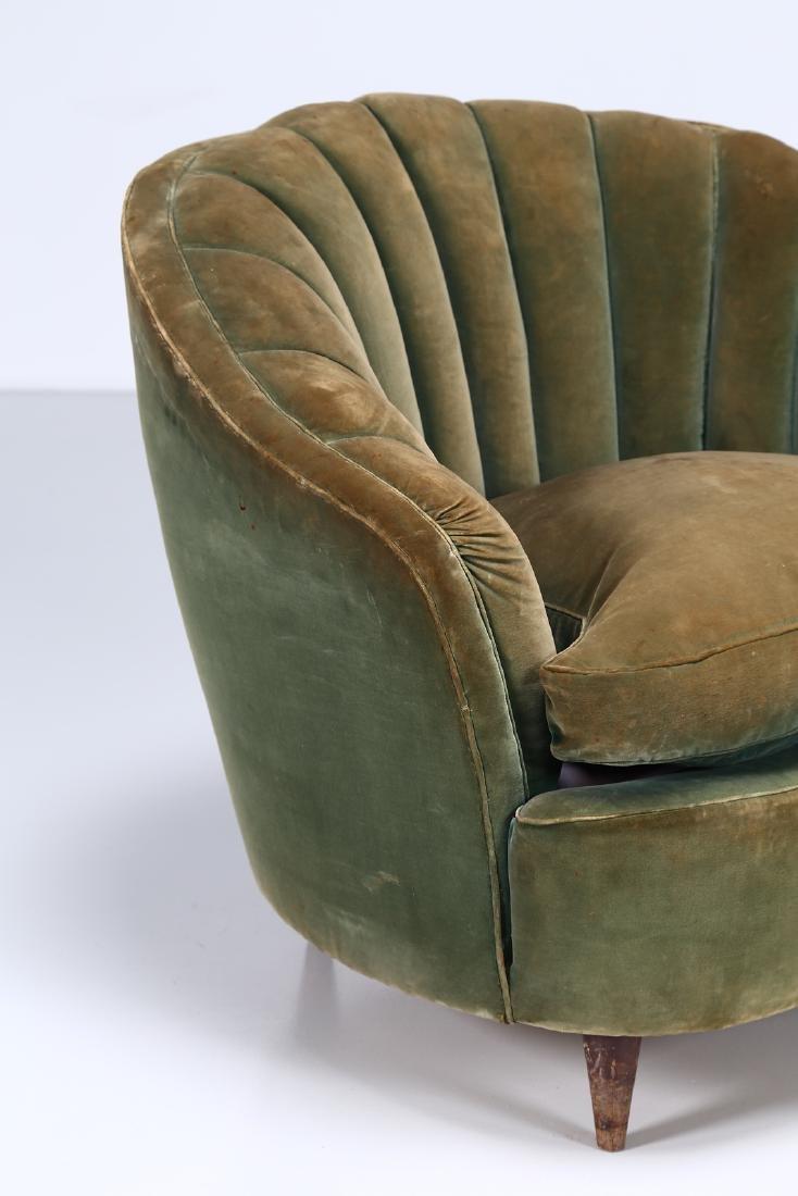 OSVALDO BORSANI Pair of wood and fabric armchairs, - 4