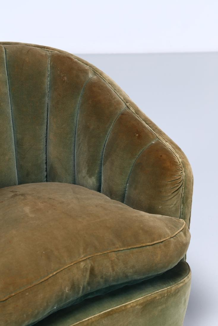 OSVALDO BORSANI Pair of wood and fabric armchairs, - 5