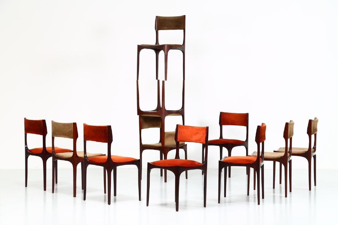 GIUSEPPE GIBELLI Eleven chairs in wood and fabric by