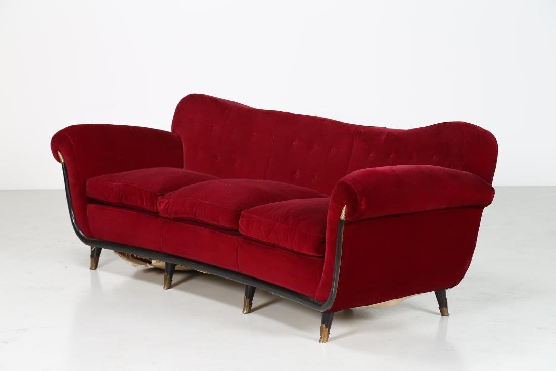 MANIFATTURA ITALIANA  Velour-covered wood sofa with