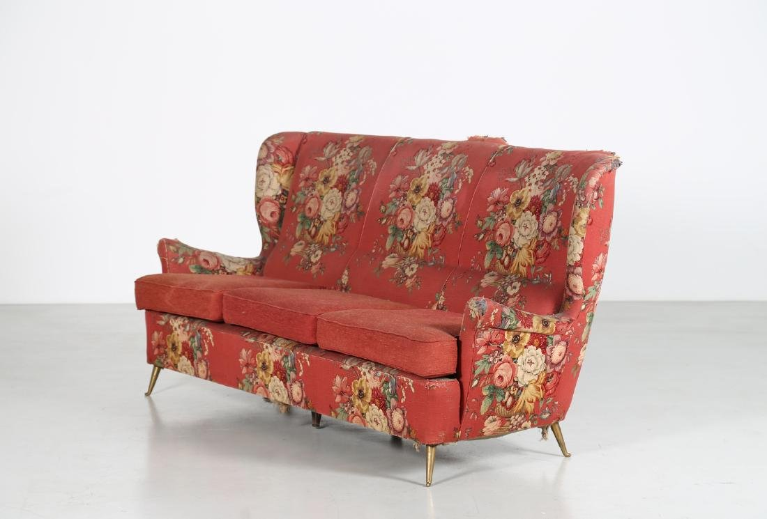 MANIFATTURA ITALIANA  Wood sofa with original fabric