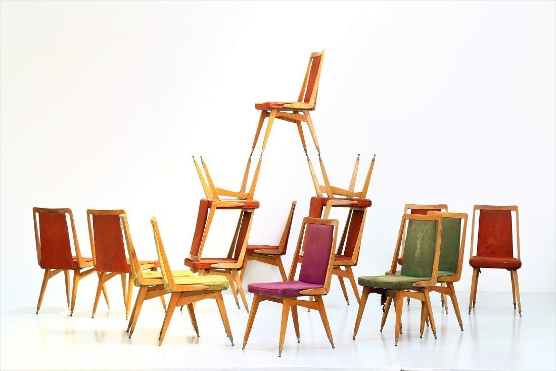 MANIFATTURA ITALIANA  Fifteen chairs in wood, fabric