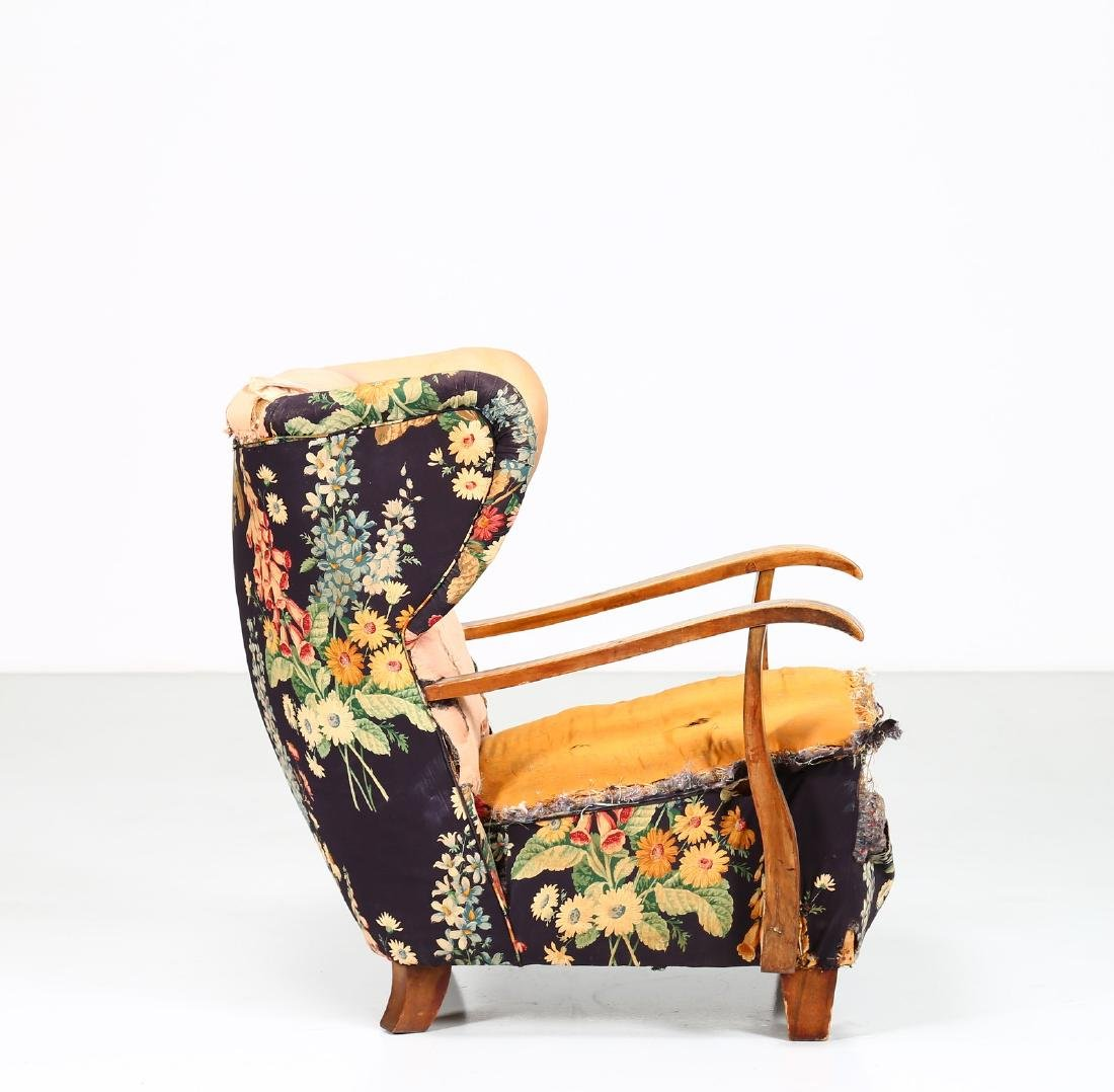 MELCHIORRE BEGA Wood and fabric armchair, 1940s. - 6