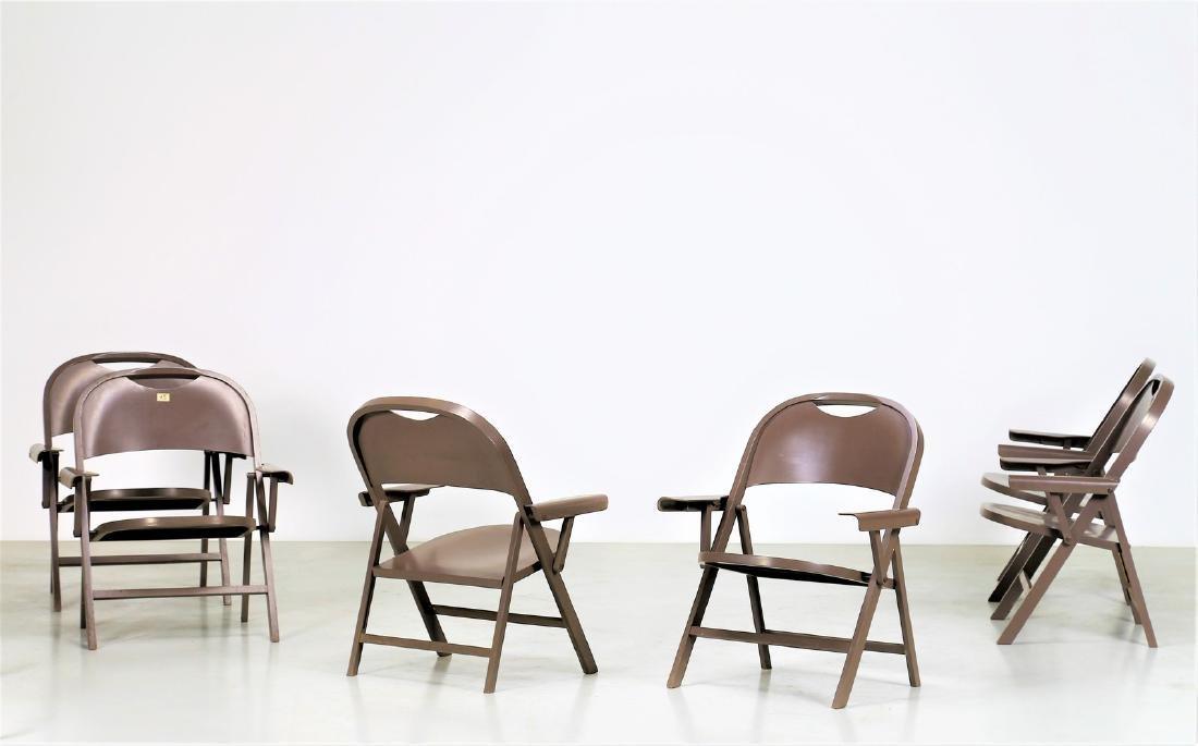 ACHILLE CASTIGLIONI Six folding chairs in lacquered