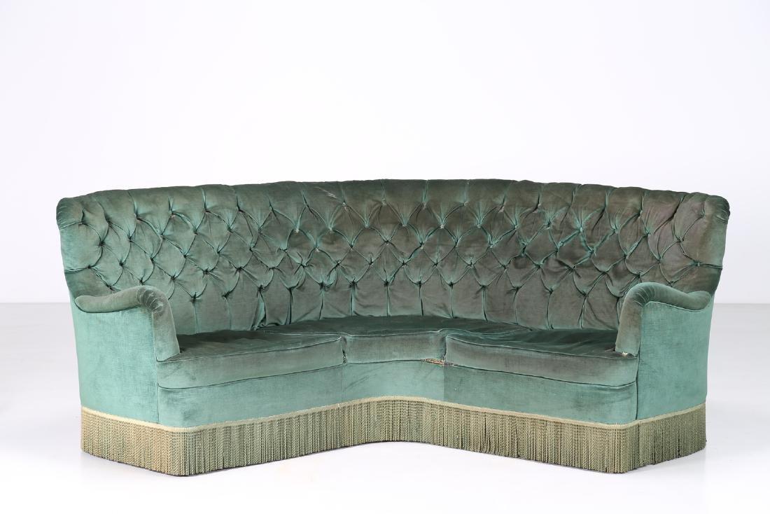 OSVALDO BORSANI Corner sofa in wood and original fabric