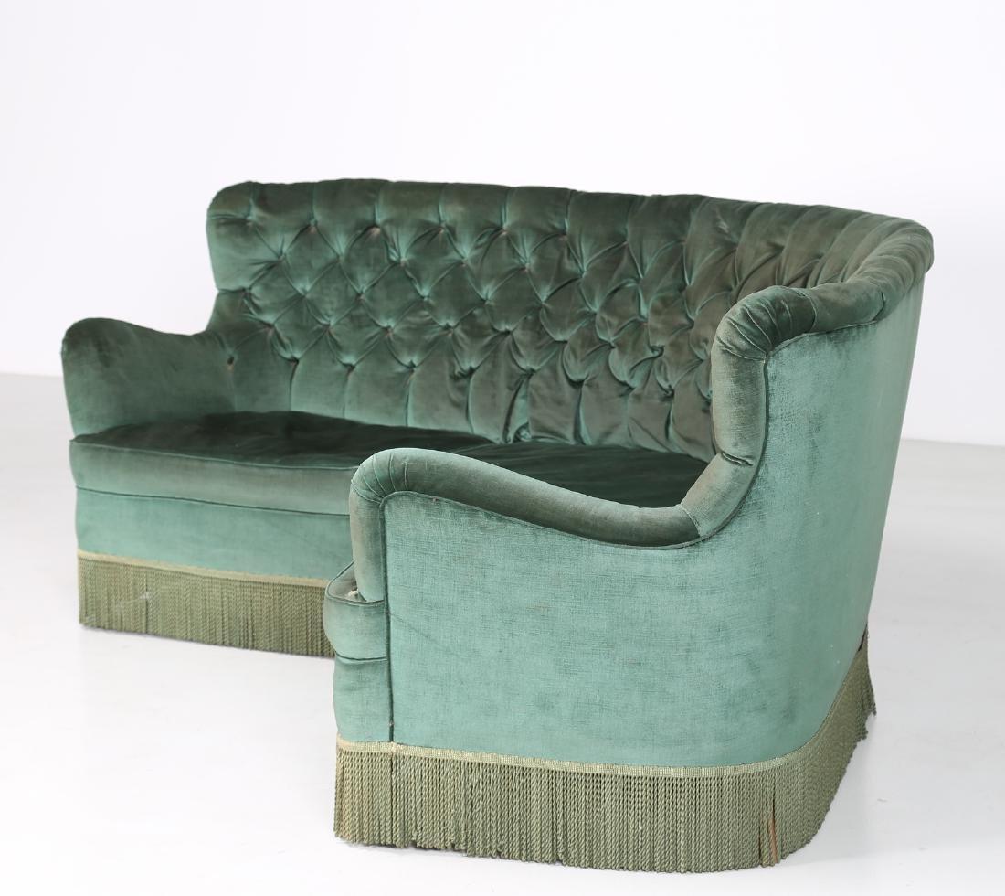 OSVALDO BORSANI Corner sofa in wood and original fabric - 2