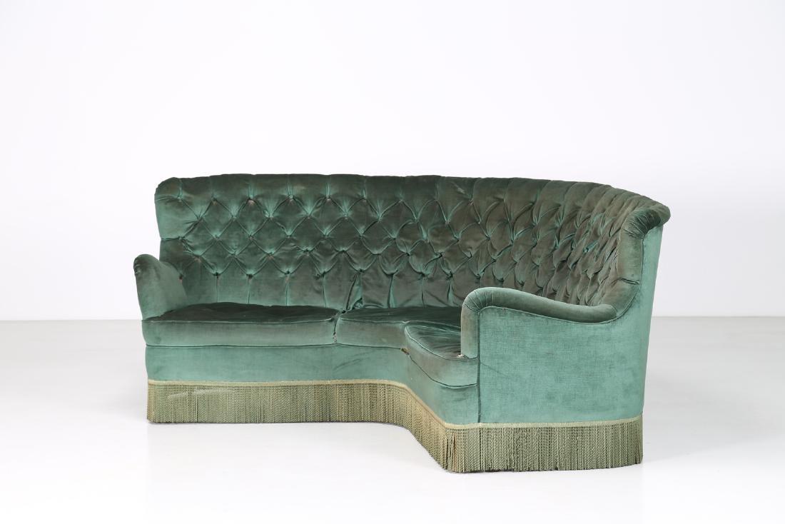 OSVALDO BORSANI Corner sofa in wood and original fabric - 3