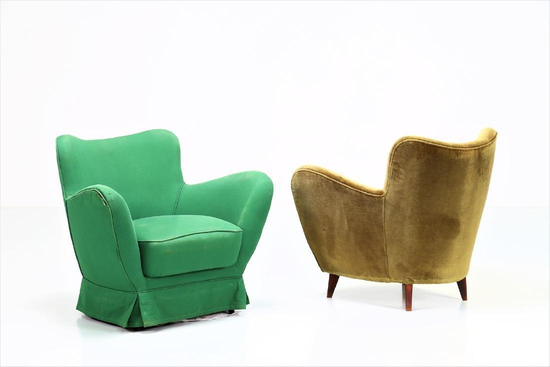 GUGLIELMO VERONESI Pair of wood and fabric armchairs,