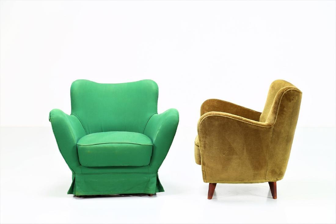 GUGLIELMO VERONESI Pair of wood and fabric armchairs, - 2