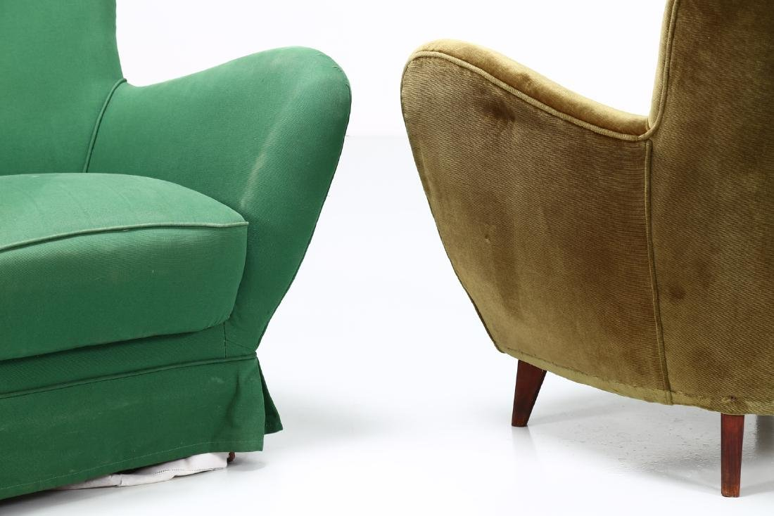 GUGLIELMO VERONESI Pair of wood and fabric armchairs, - 4