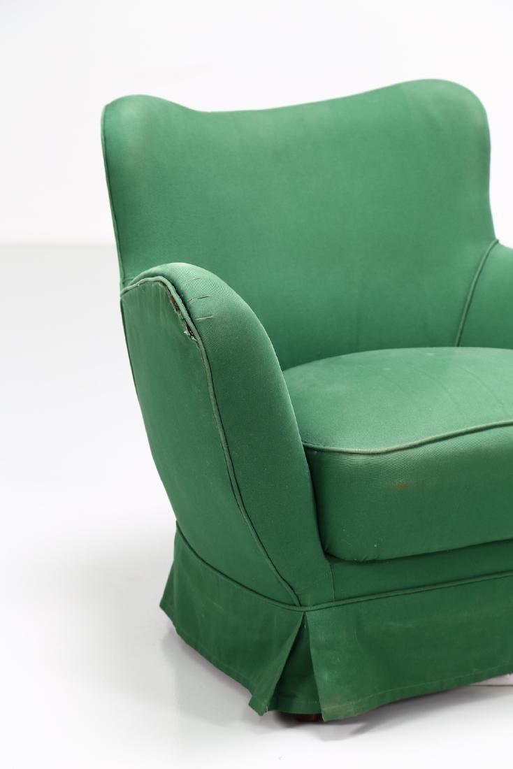 GUGLIELMO VERONESI Pair of wood and fabric armchairs, - 5