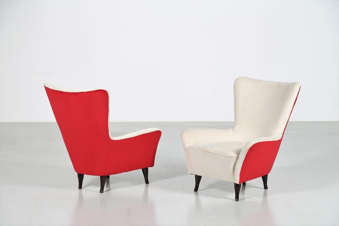 ISA BERGAMO  Pair of wood and fabric armchairs, 1950s